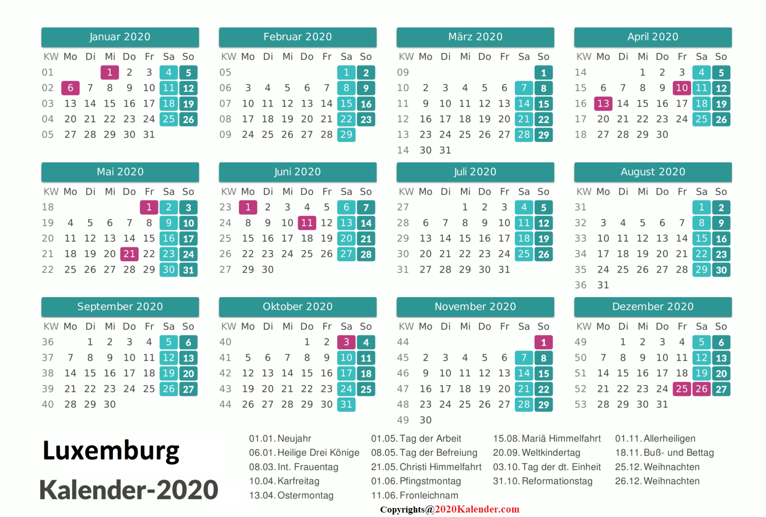 Luxemburg-Kalender 2020 Excel