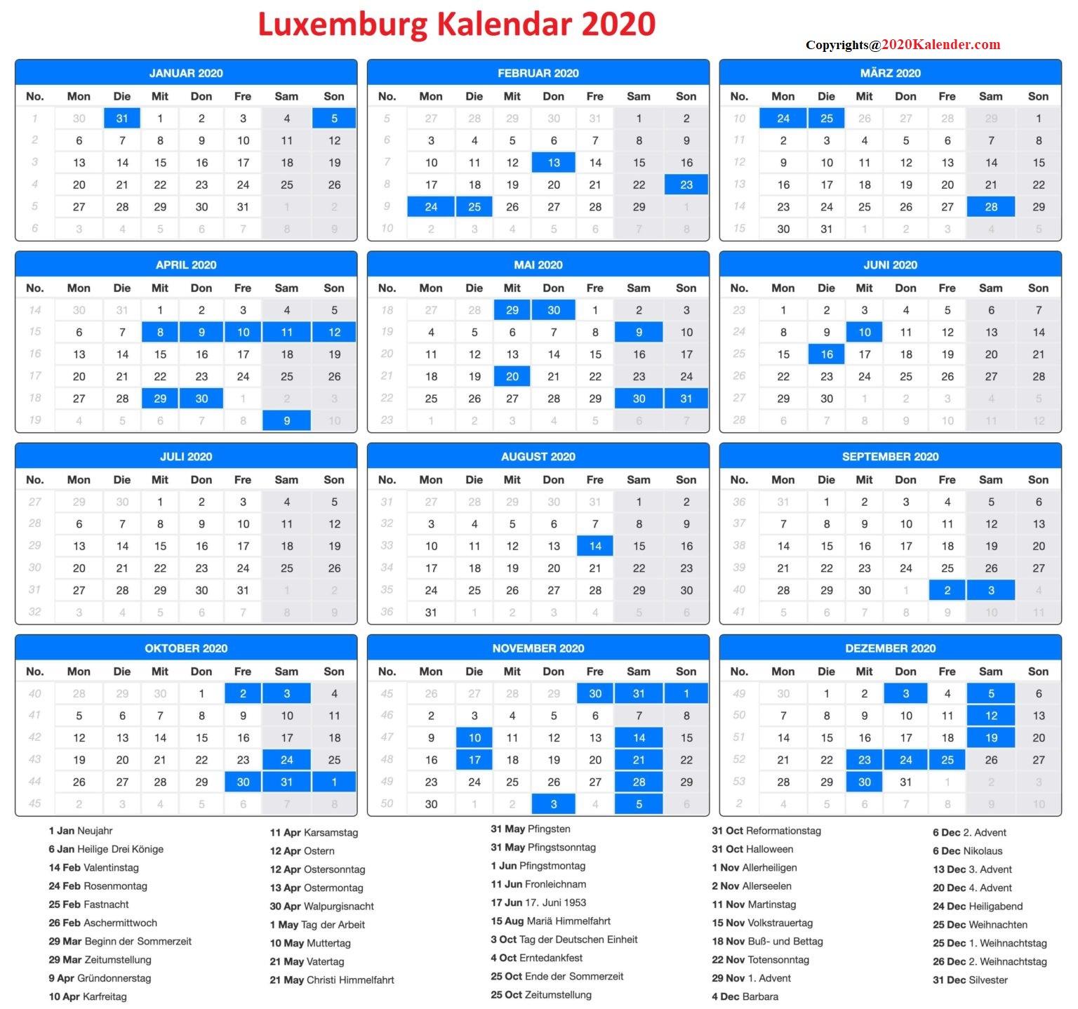2020 Luxemburg Kalender Feiertage