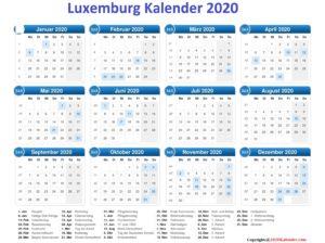 2020 LuxemburgKalender MitFeiertagen