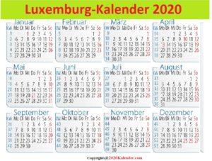 2020 SchulferienLuxemburg Kalender