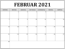 Frei Kalender Februar 2021 Ausdrucken