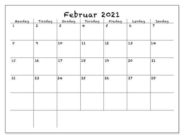 Monats Kalender Februar 2021