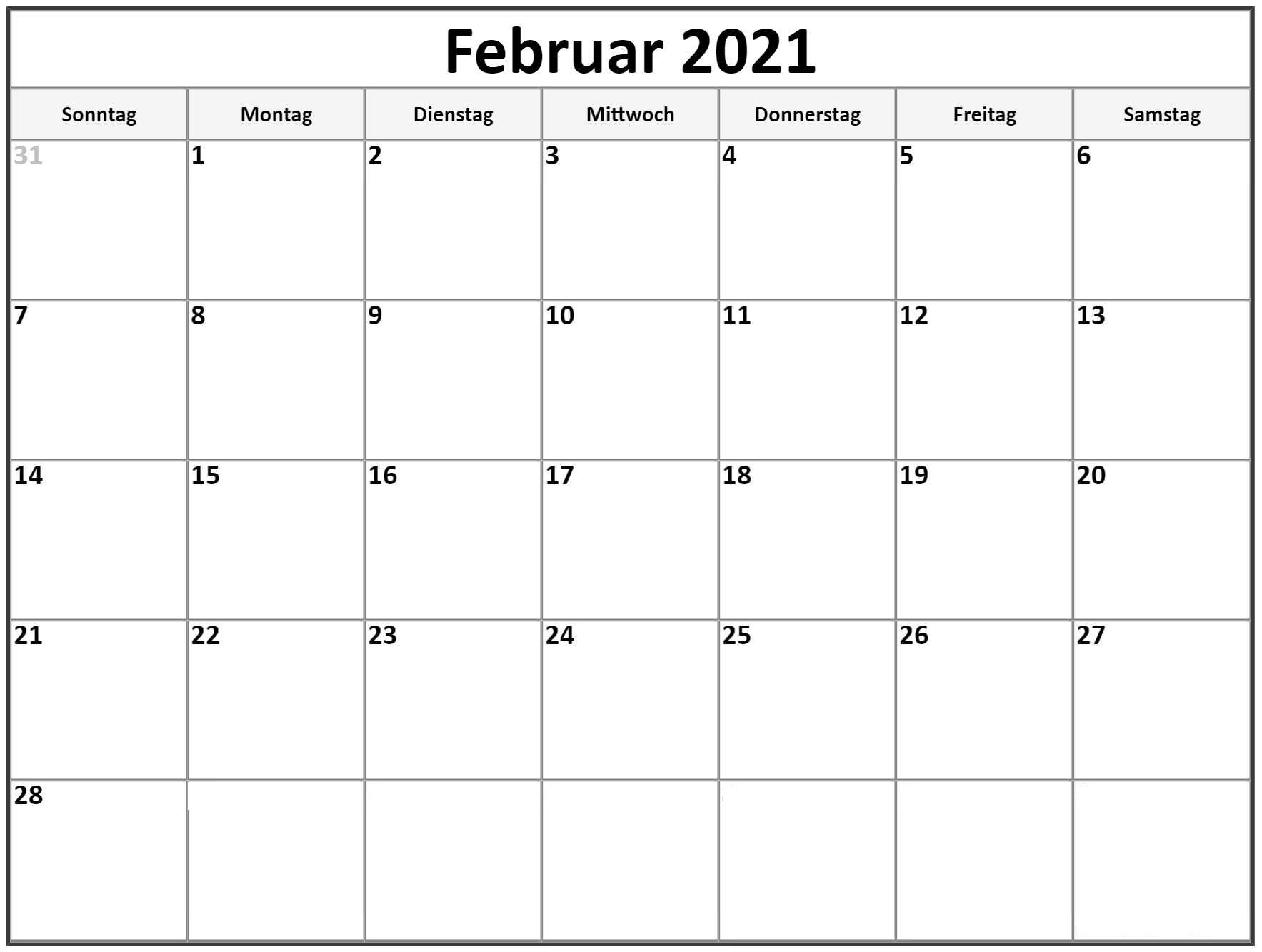 Kalender Februar 2021 Drucken