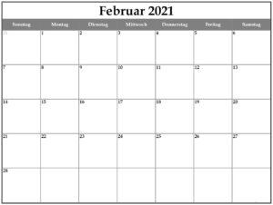 Kalender Februar 2021 Vorlage