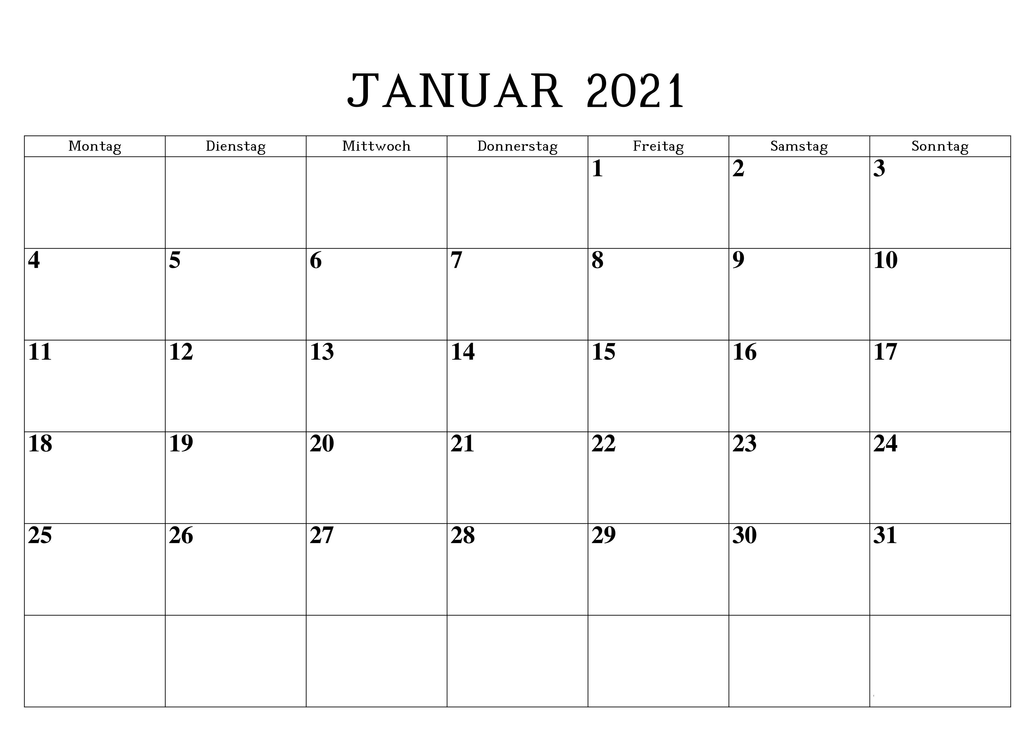 Januar 2021 Druckbarer Kalender