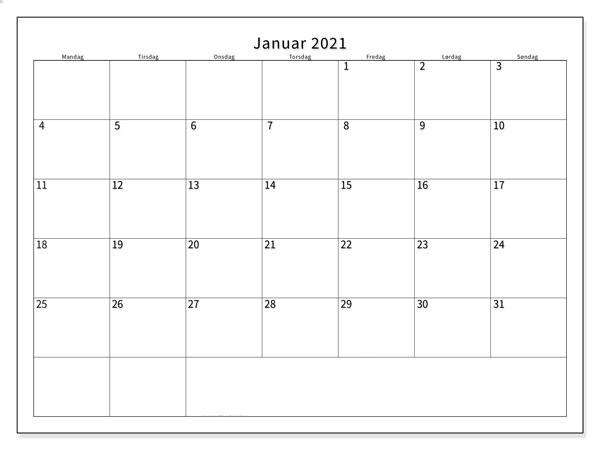 Januar 2021 Kalender
