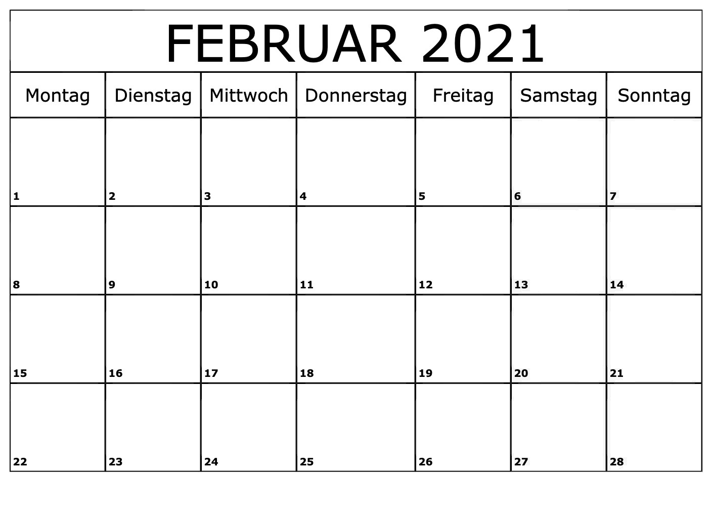 Kalender 2021 Februar Zum Ausdrucken