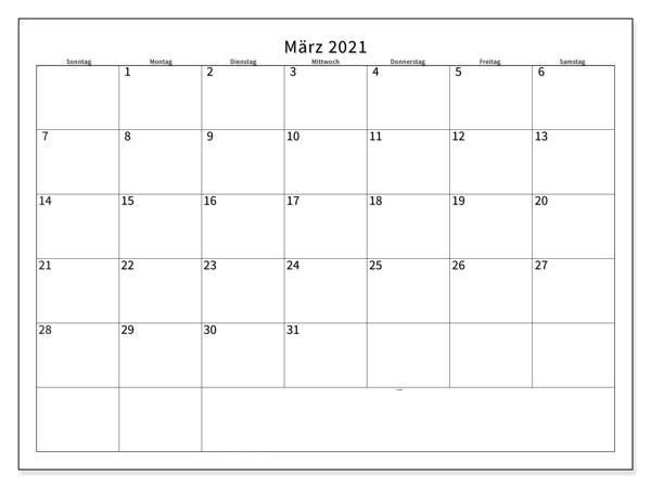 März 2021 Kalender