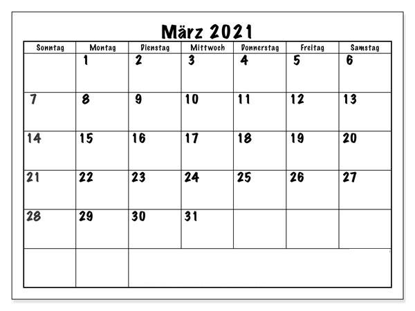 Monats Kalender März 2021