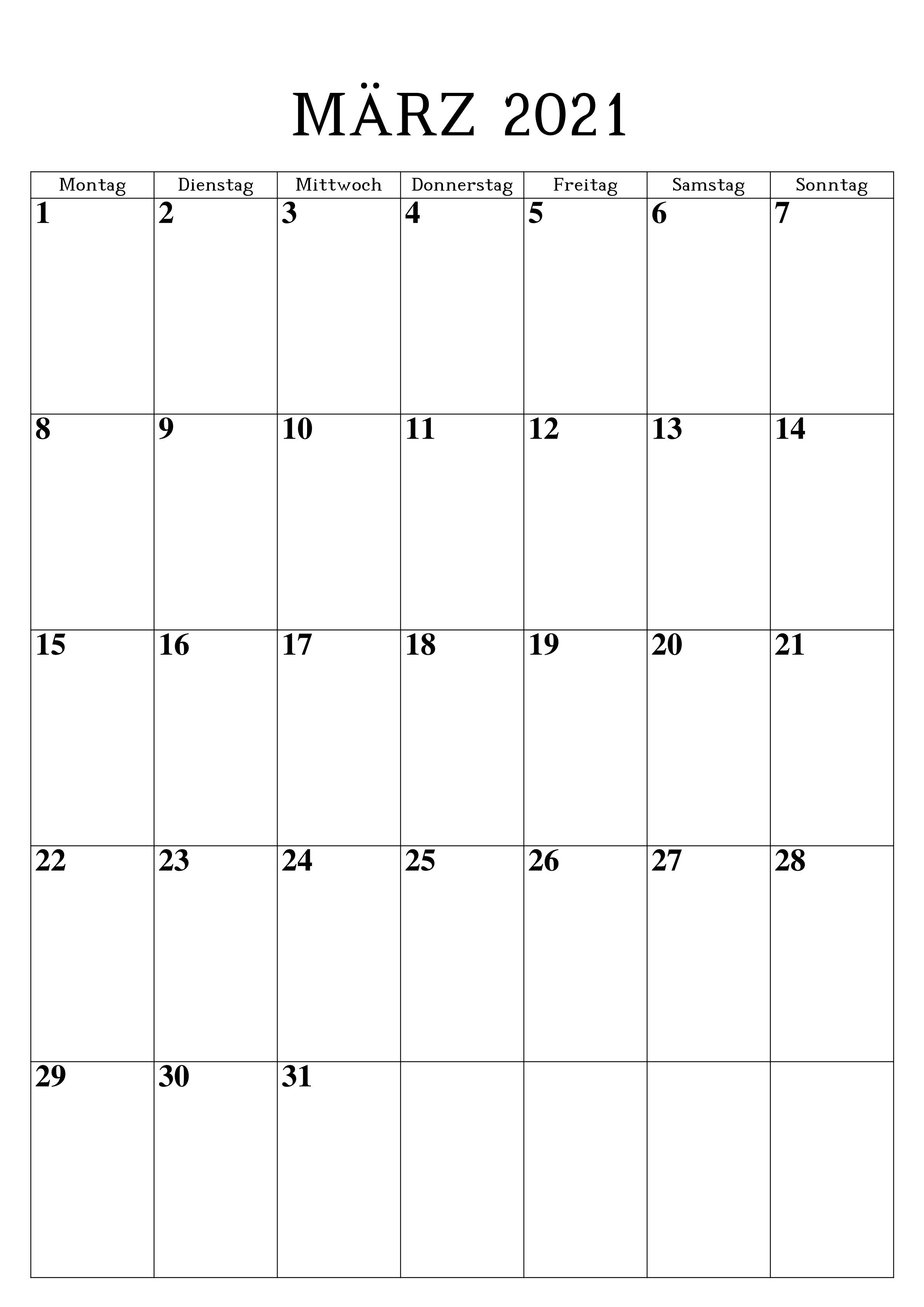 Frei Kalender März 2021 Ausdrucken