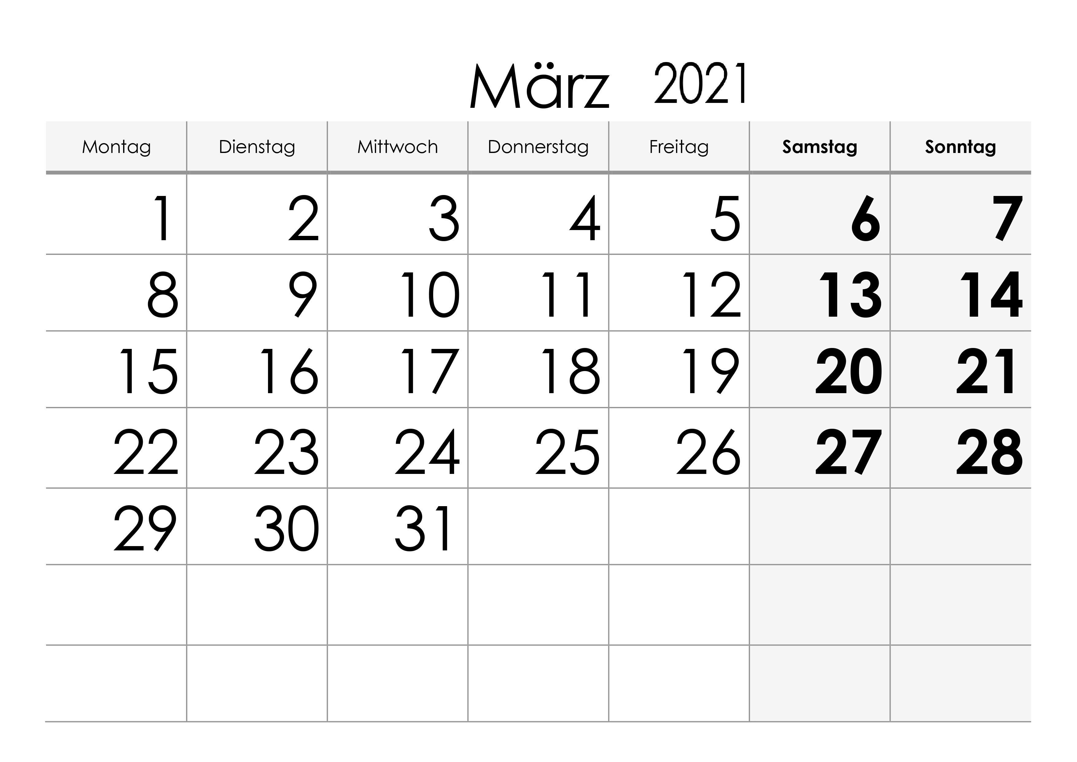 Kalender März 2021 Ausdrucken