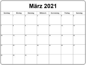 Kalender März 2021 Drucken