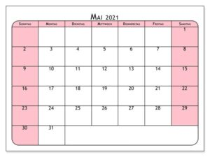 Frei Kalender Mai 2021 Ausdrucken