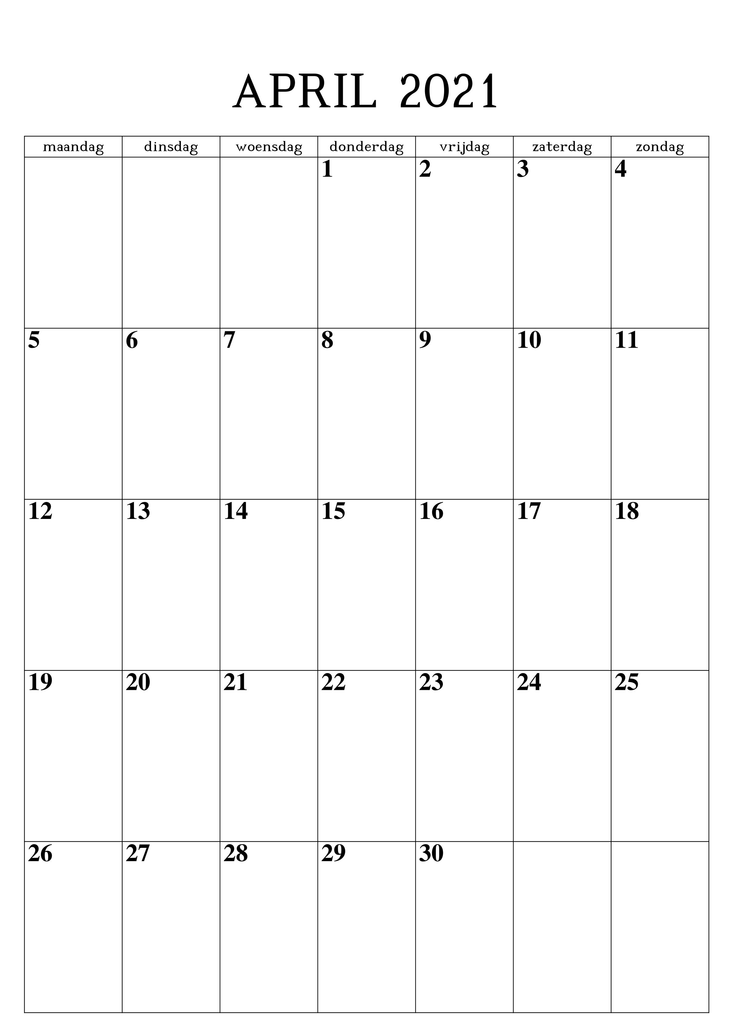 Frei Kalender April 2021 Ausdrucken