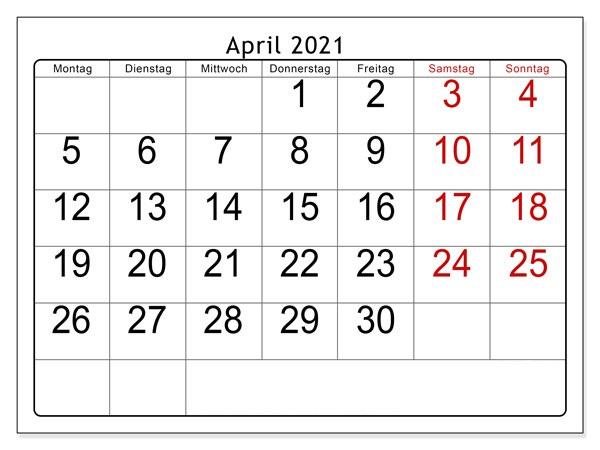 Kalender April 2021 Drucken