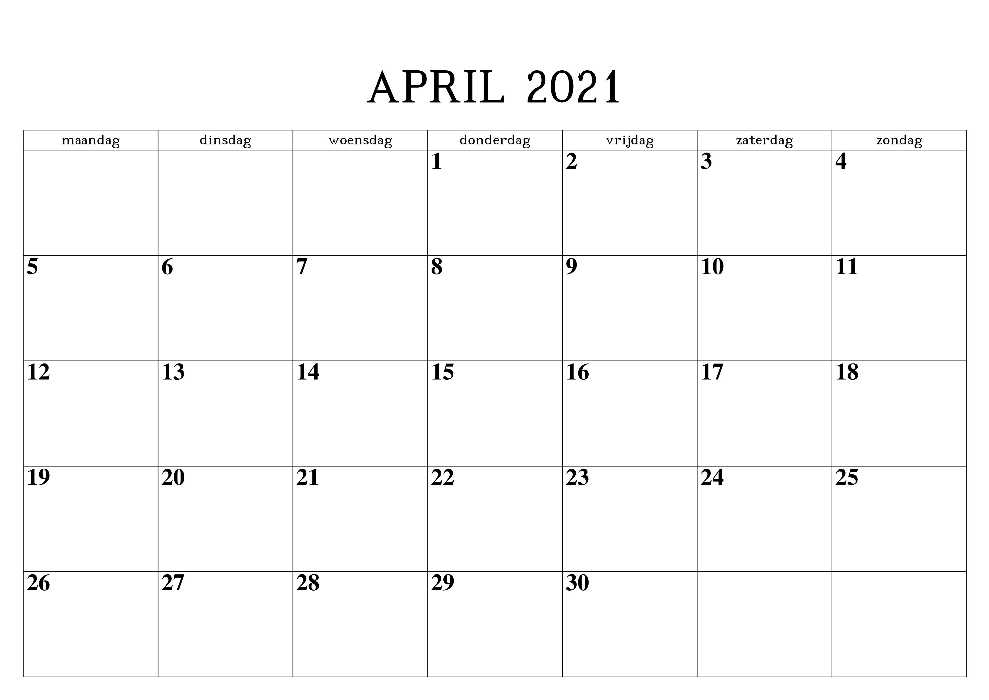 Monats Kalender April 2021