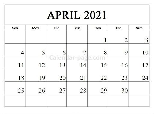 Kalender 2021 April Zum Ausdrucken