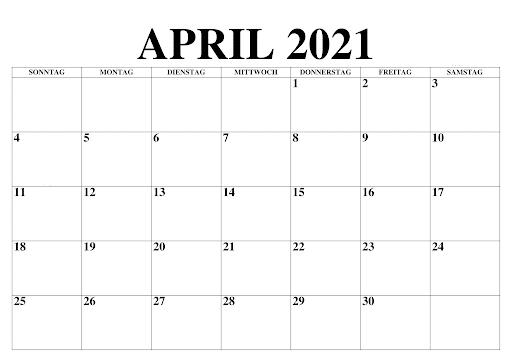 April 2021 Kalender