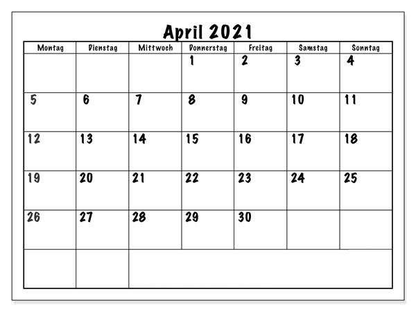 Kalender April 2021 Ausdrucken