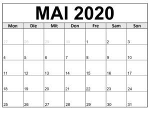 Mai 2021 Druckbarer Kalender