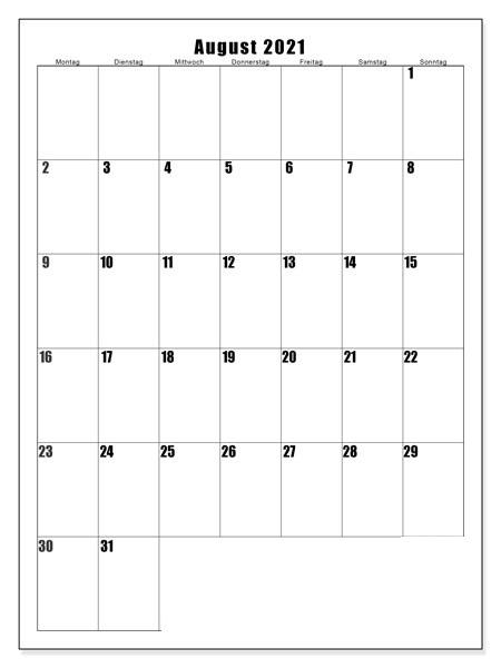 Kalender 2021 August Zum Ausdrucken
