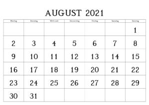 Kalender August 2021 Ausdrucken