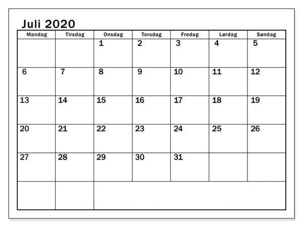 Kalender Juli 2021 Ausdrucken