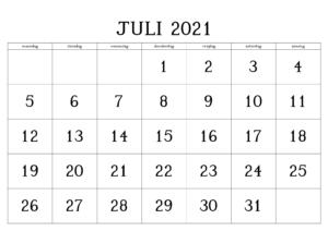 Monats Kalender Juli 2021