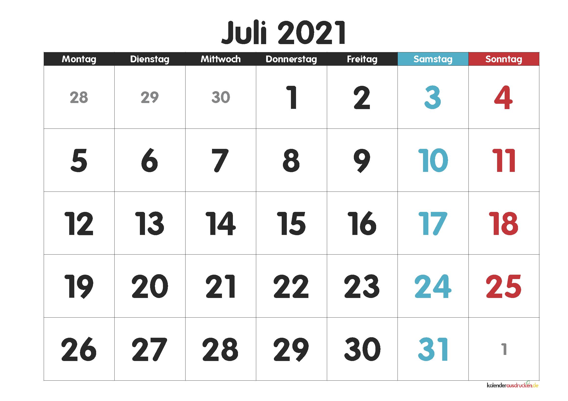 Juli 20 Kalender Zum Ausdrucken [PDF, Excel, Word]