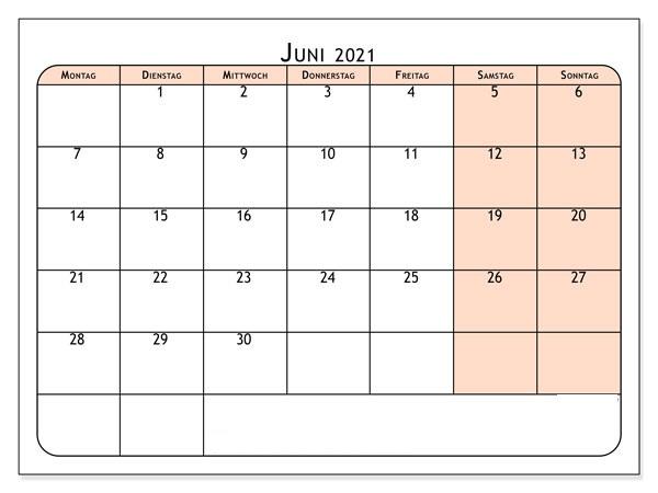 Kalender Juni 2021 Ausdrucken