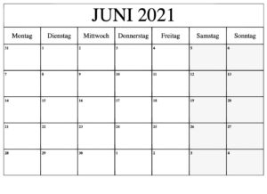 Frei Kalender Juni 2021 Ausdrucken