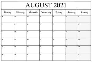 Kalender August 2021 Drucken