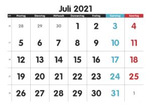 Kalender Juli 2021 Drucken