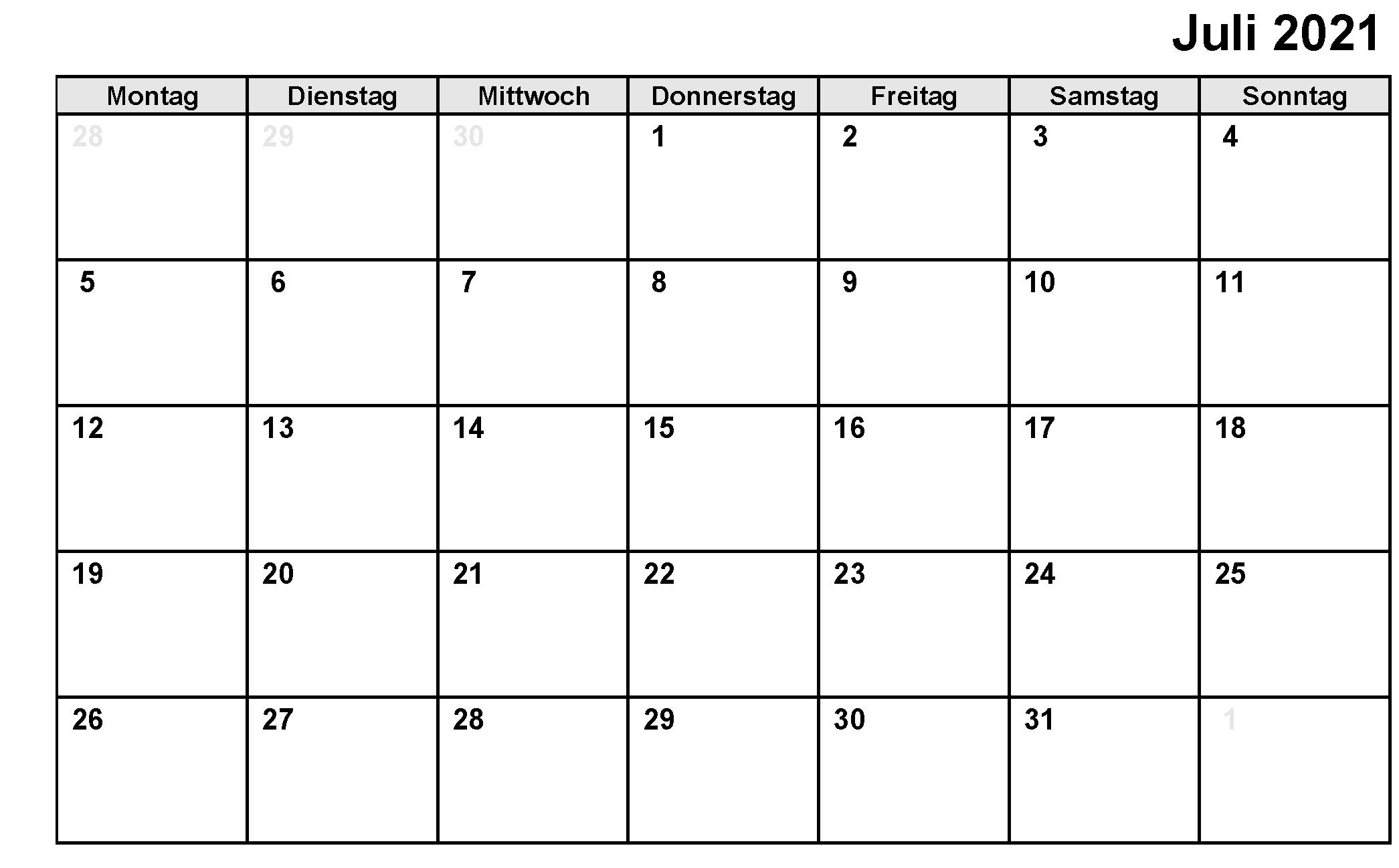 Kalender Juli 2021 Vorlage