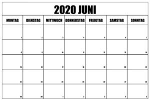 Kalender Juni 2021 Drucken