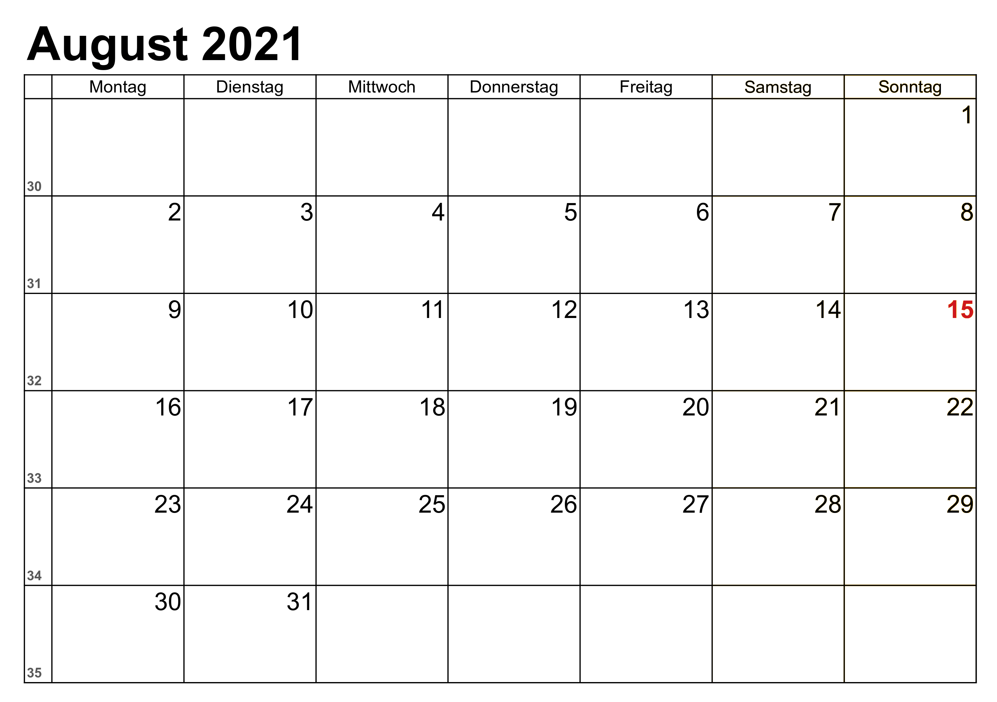 Monats Kalender August 2021