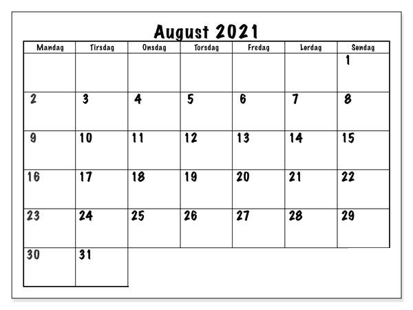 Frei Kalender August 2021 Ausdrucken