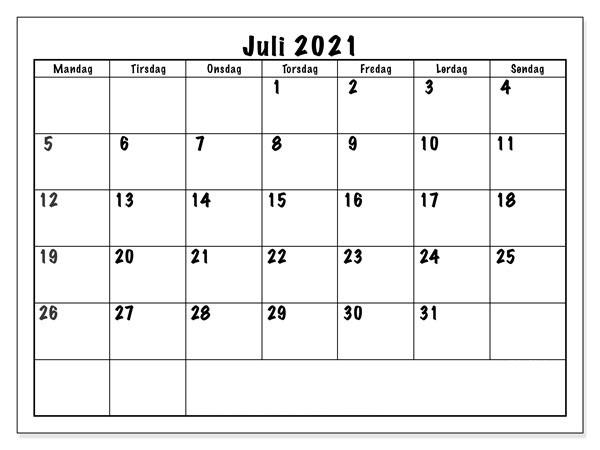 Frei Kalender Juli 2021 Ausdrucken
