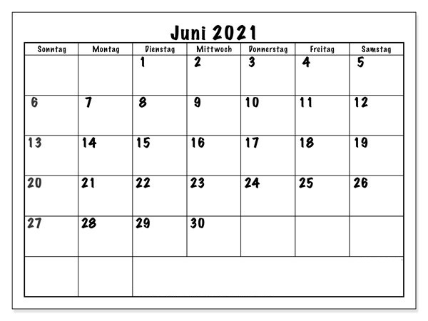 Monats Kalender Juni 2021
