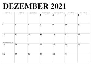 Dezember 2021 Kalender