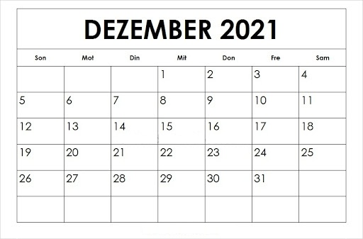 Frei Kalender Dezember 2021 Ausdrucken
