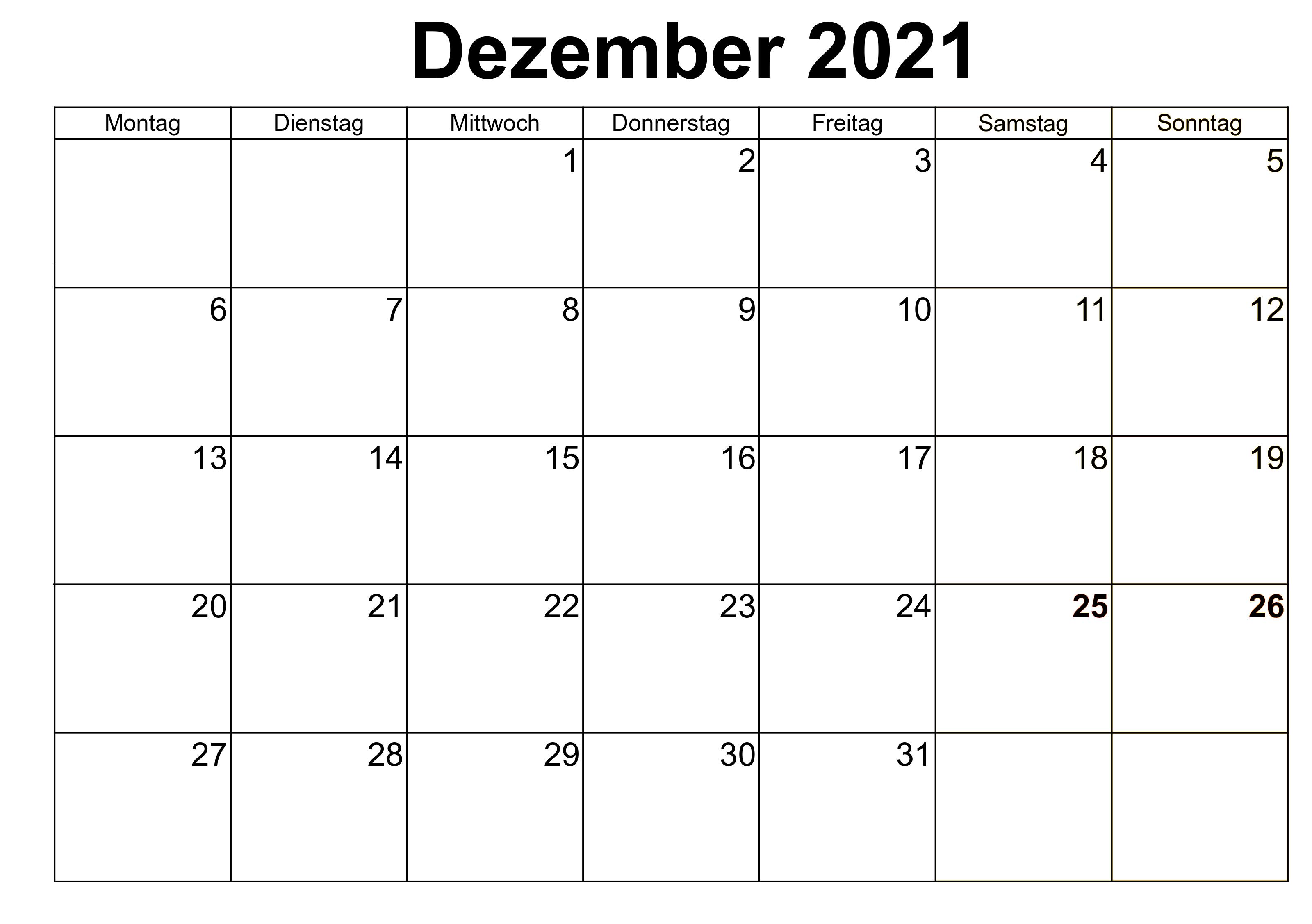 Monats Dezember 2021 Kalender