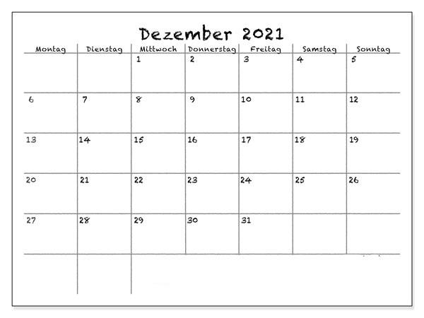 Dezember 2021 Kalender Vorlage