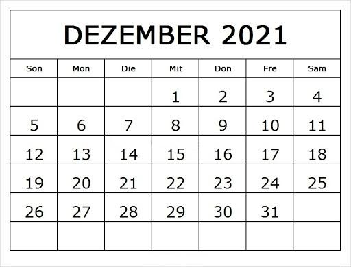 Kalender 2021 Dezember Zum Ausdrucken