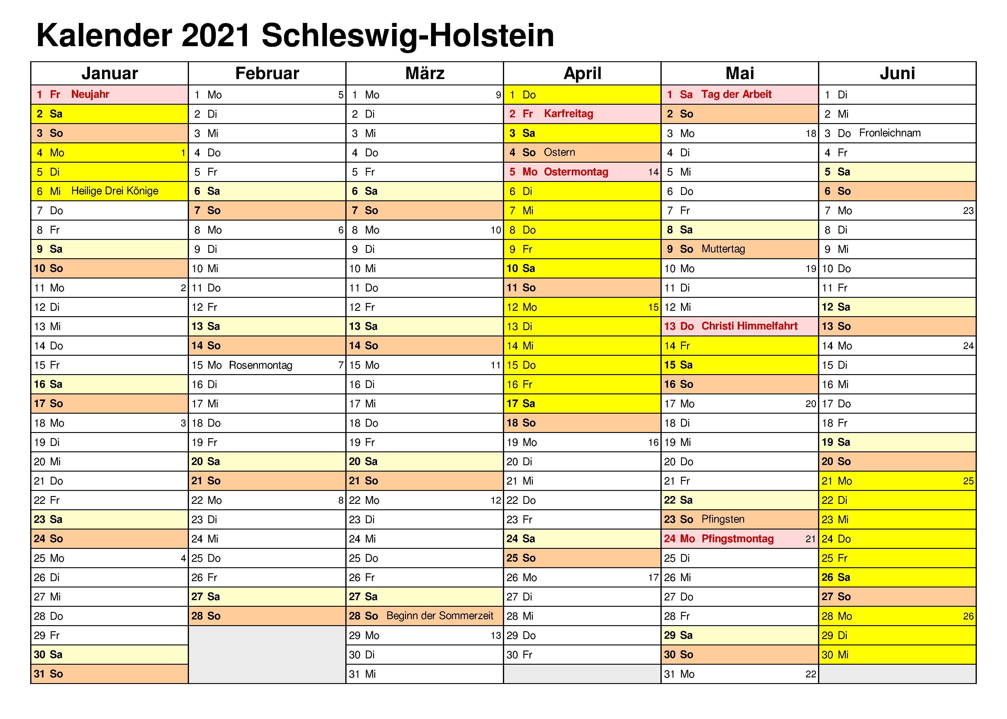 Feiertagen 2021 Schleswig-Holstein Kalender