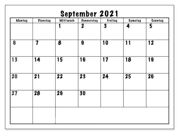 Frei Kalender September 2021 Ausdrucken