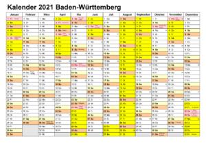Kalender Baden-Württemberg 2021 Zum Ausdrucken
