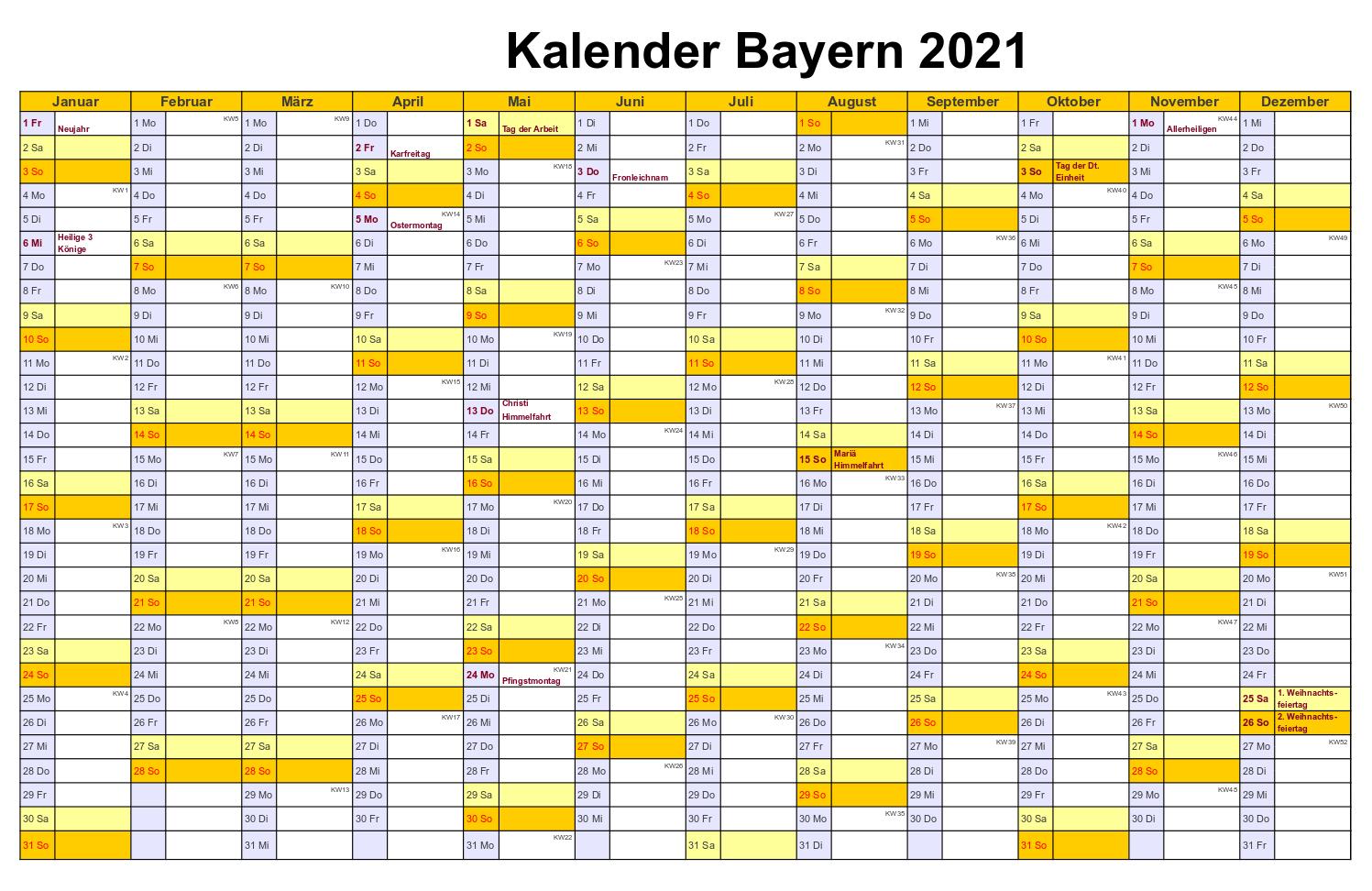 Kalender Bayern 2021 Zum Ausdrucken