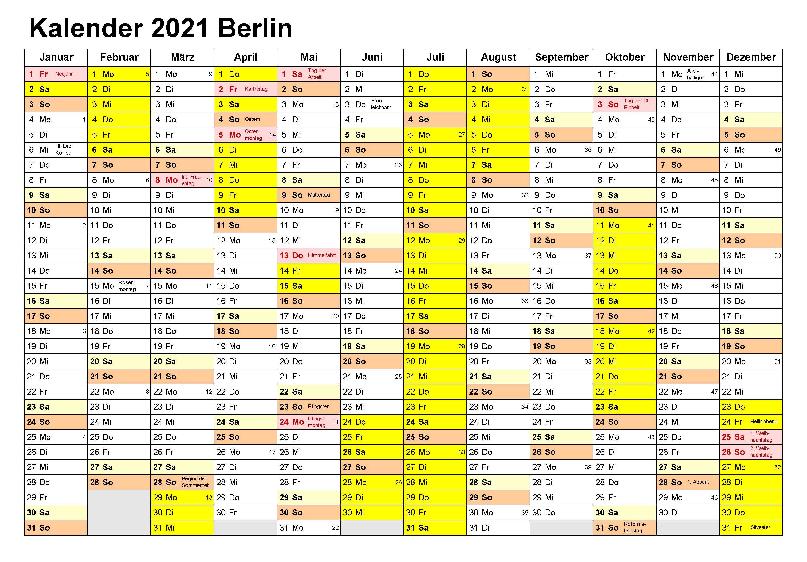 Kalender Berlin 2021 Zum Ausdrucken