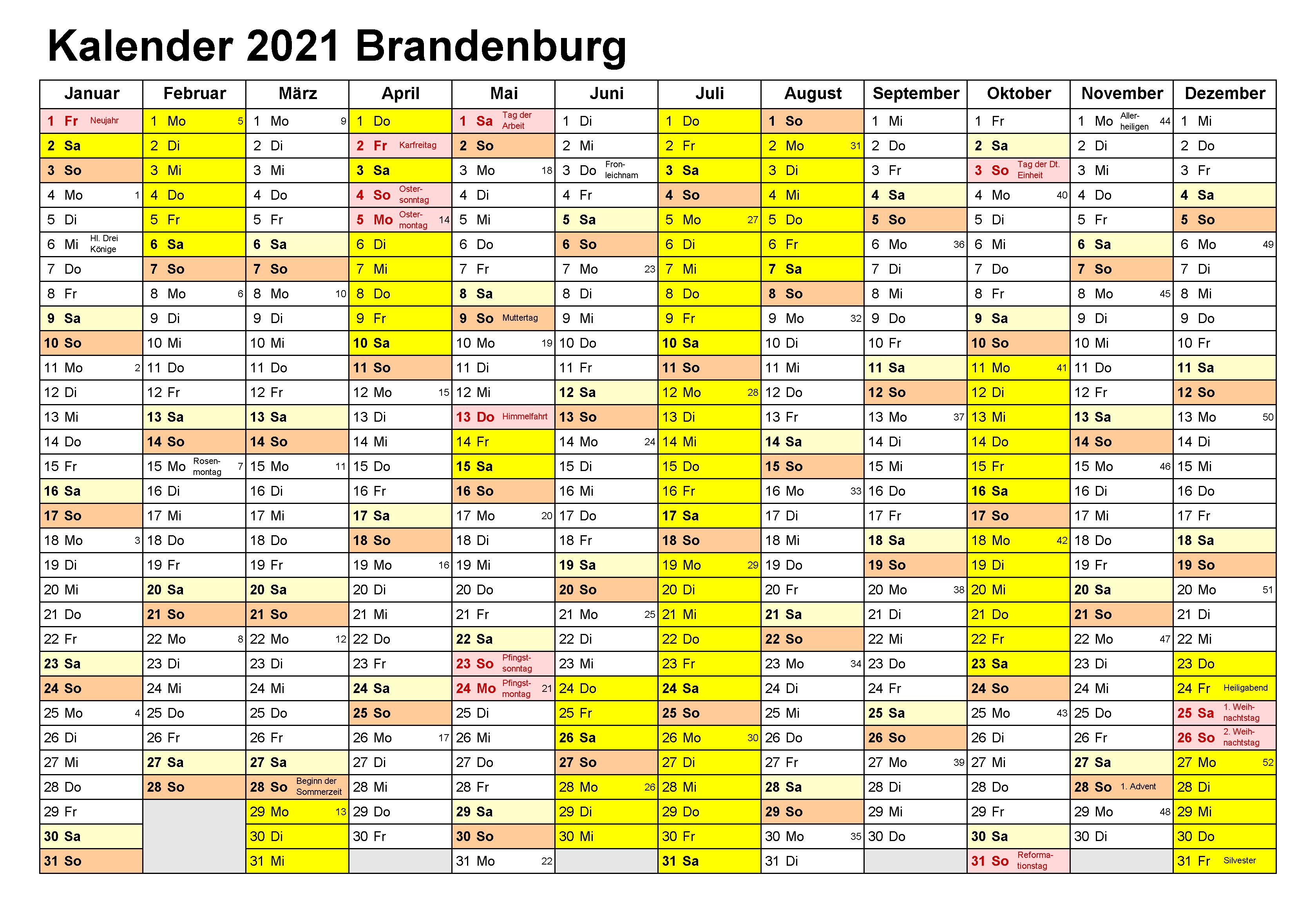Kalender Brandenburg 2021 Zum Ausdrucken